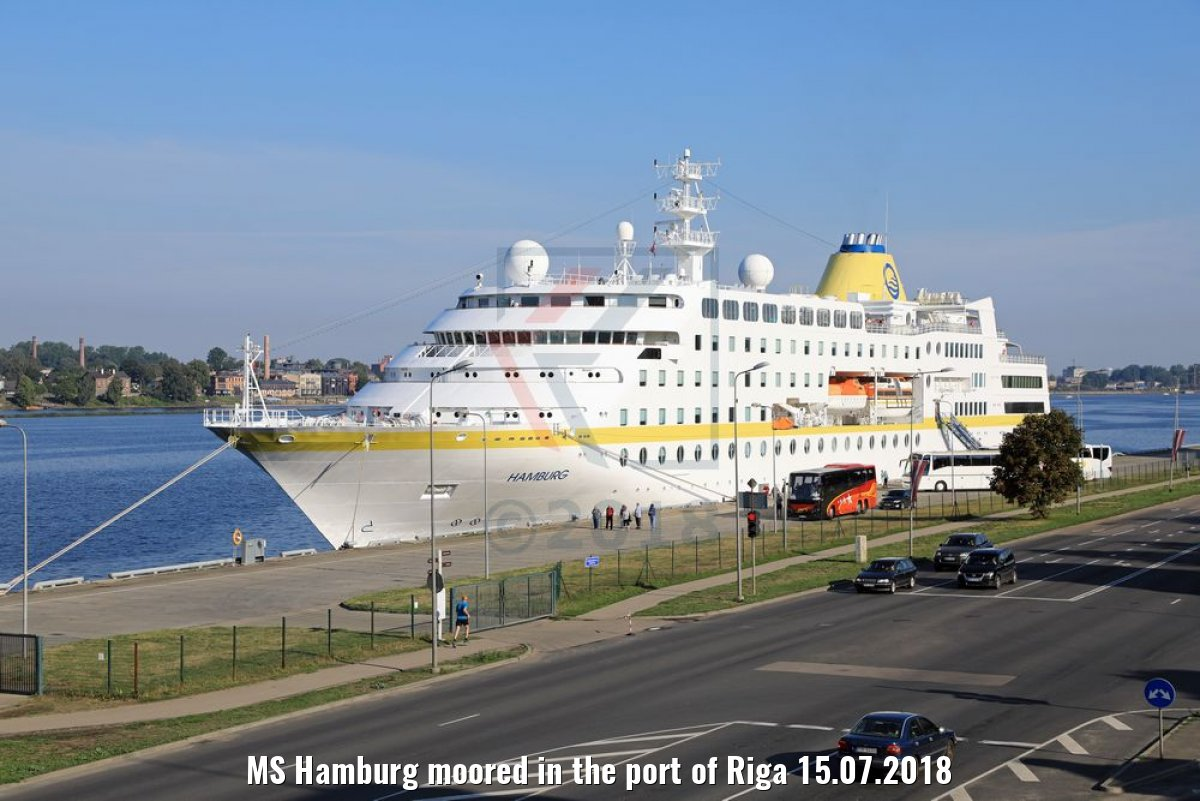 MS Hamburg moored in the port of Riga 15.07.2018