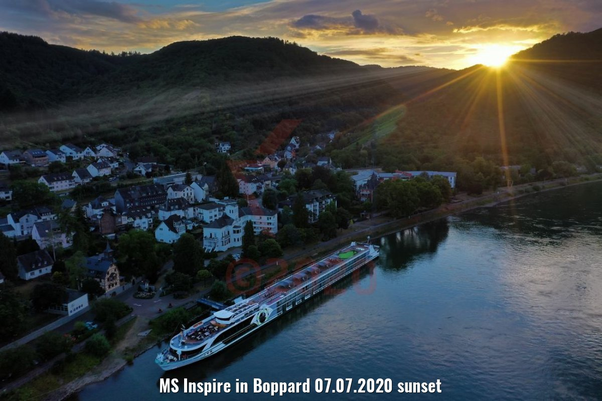 MS Inspire in Boppard 07.07.2020 sunset