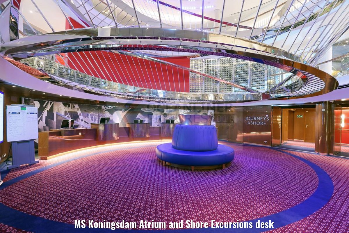 MS Koningsdam Atrium and Shore Excursions desk