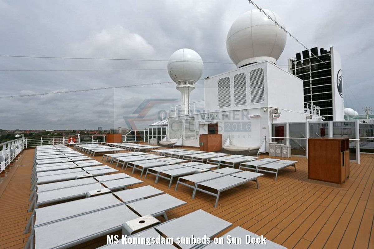 MS Koningsdam sunbeds on Sun Deck