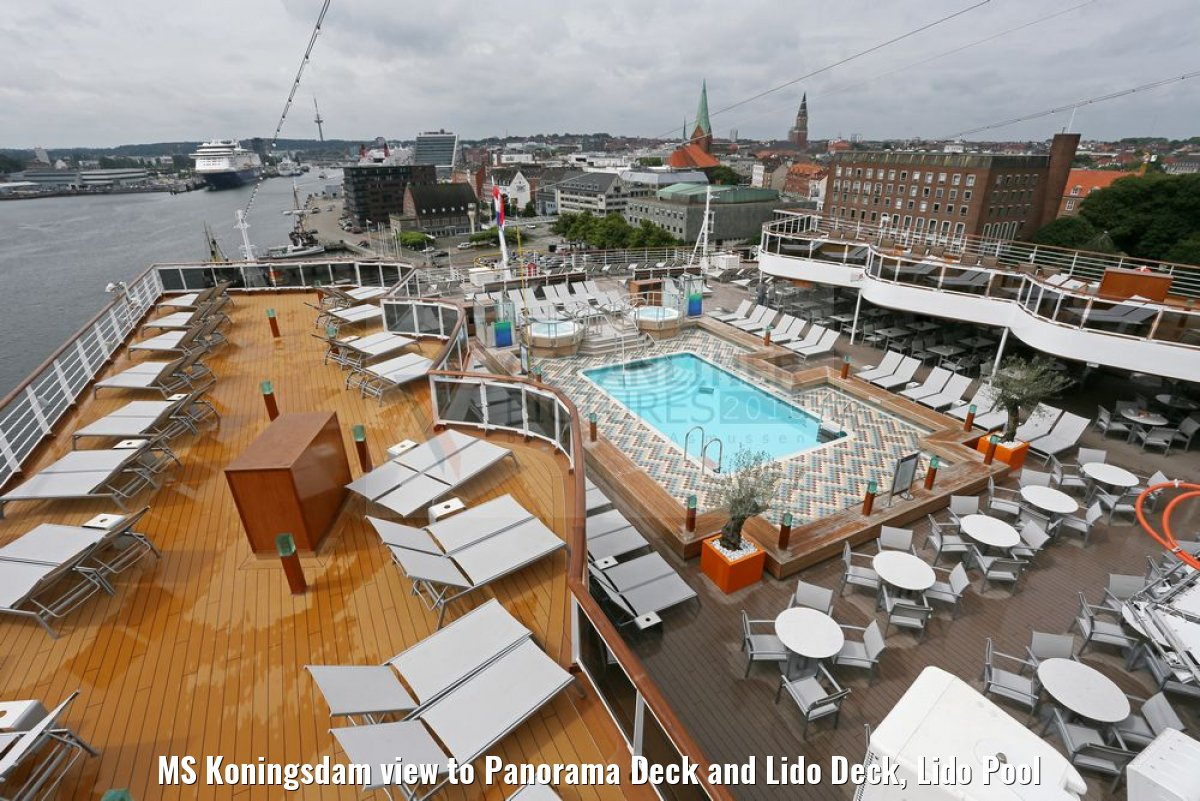 MS Koningsdam view to Panorama Deck and Lido Deck, Lido Pool