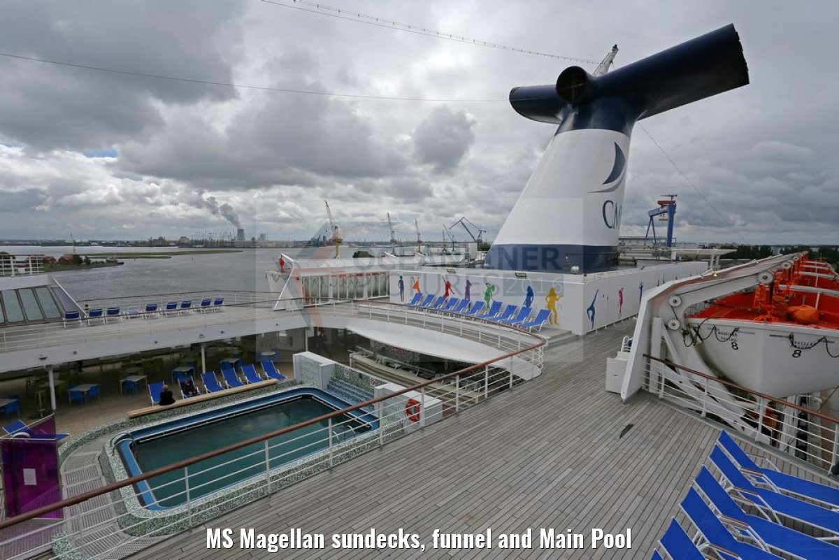 MS Magellan sundecks, funnel and Main Pool