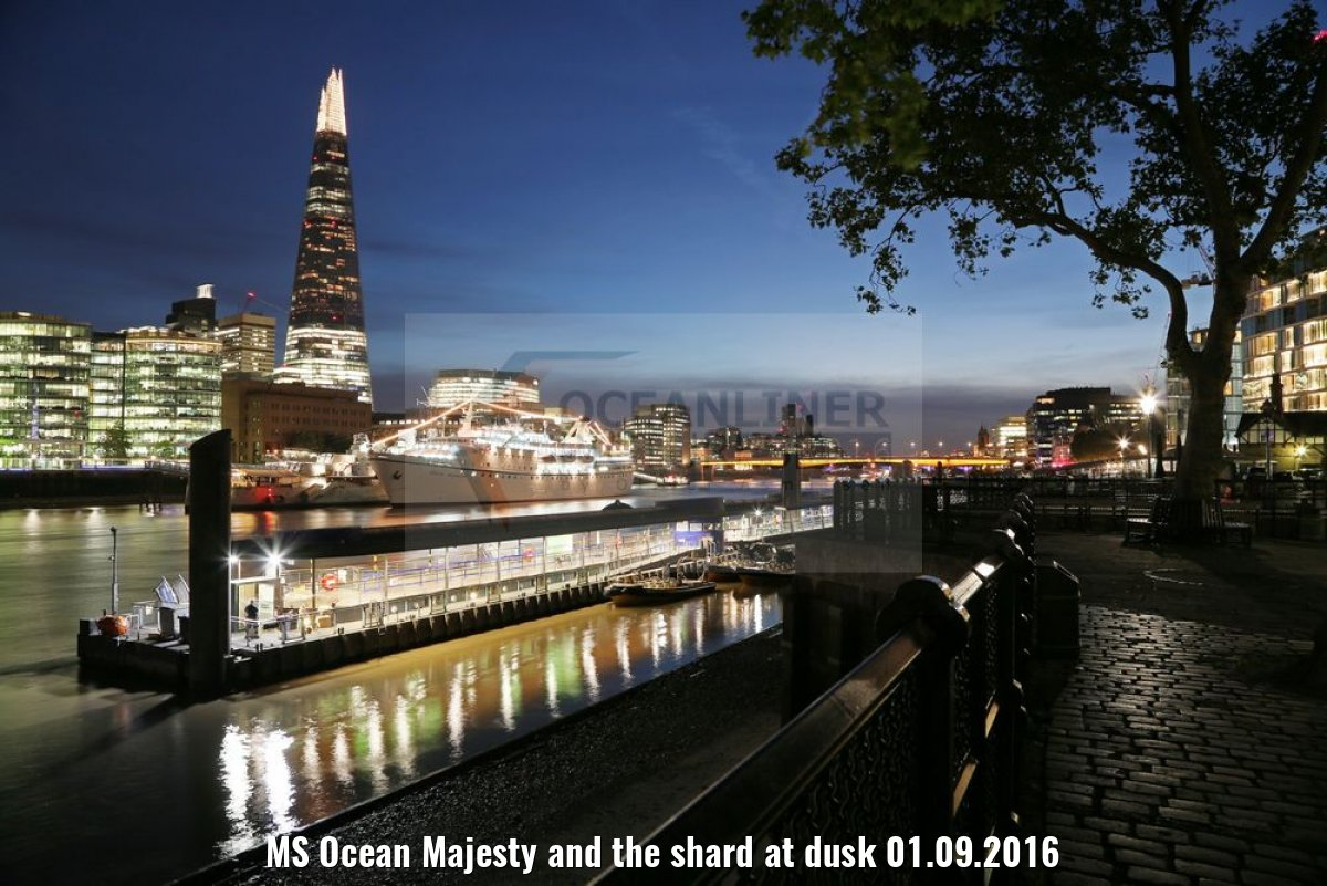 MS Ocean Majesty and the shard at dusk 01.09.2016