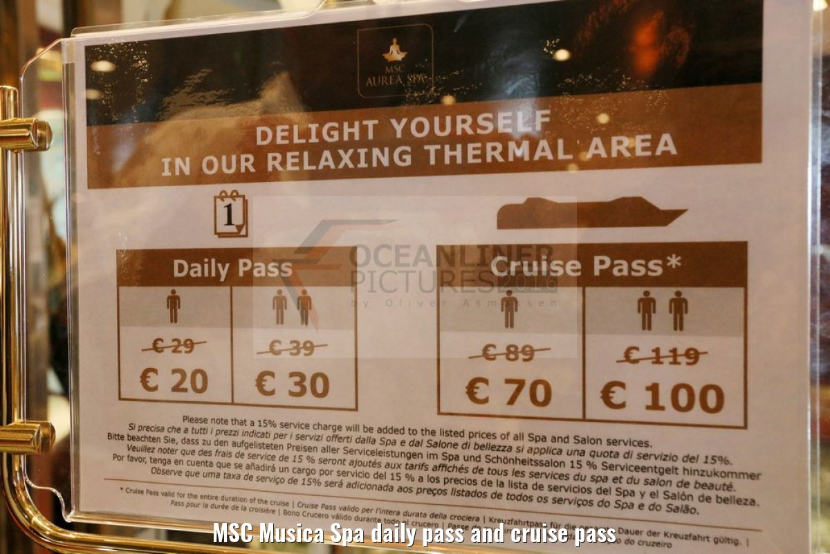 MSC Musica Spa daily pass and cruise pass