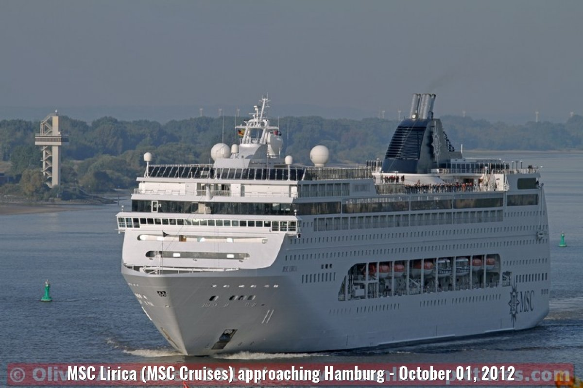 MSC Lirica (MSC Cruises) approaching Hamburg - October 01, 2012