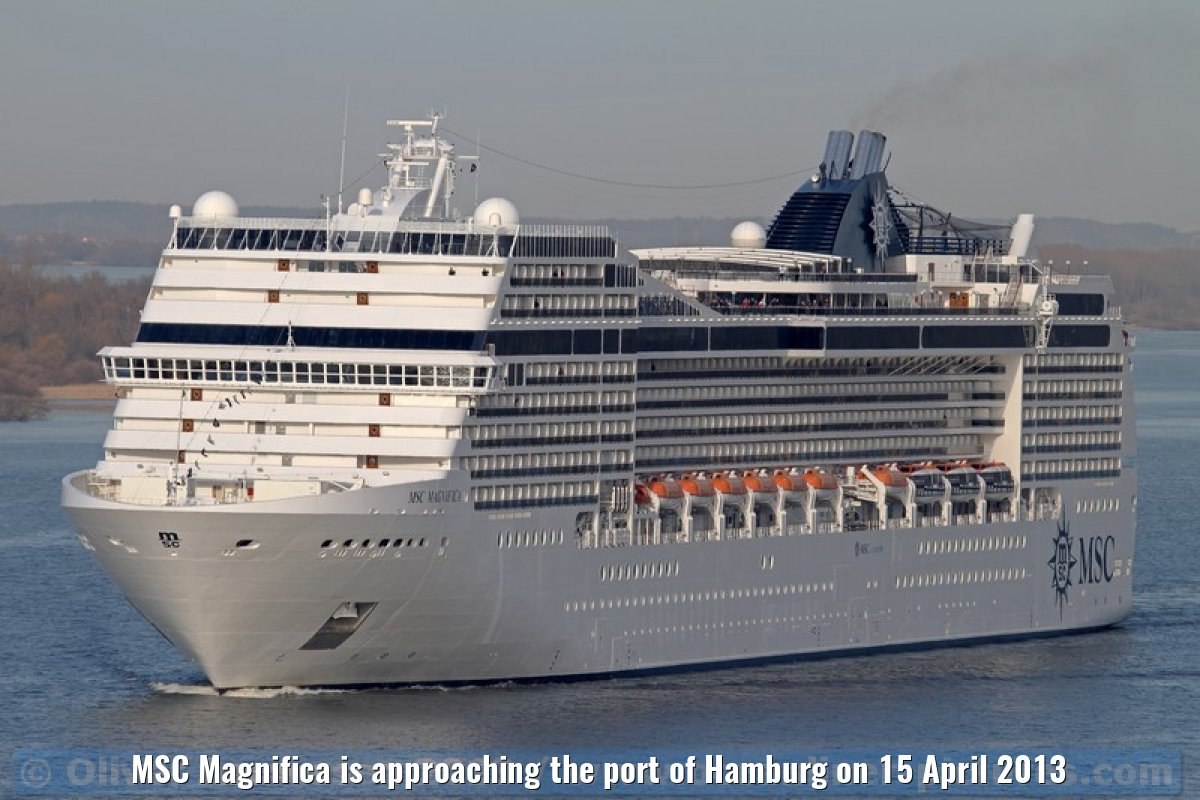 MSC Magnifica is approaching the port of Hamburg on 15 April 2013