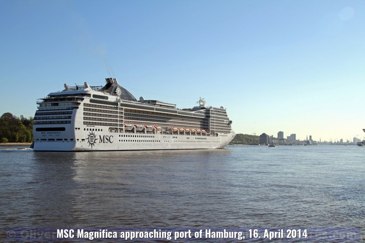 MSC Magnifica approaching port of Hamburg, 16. April 2014