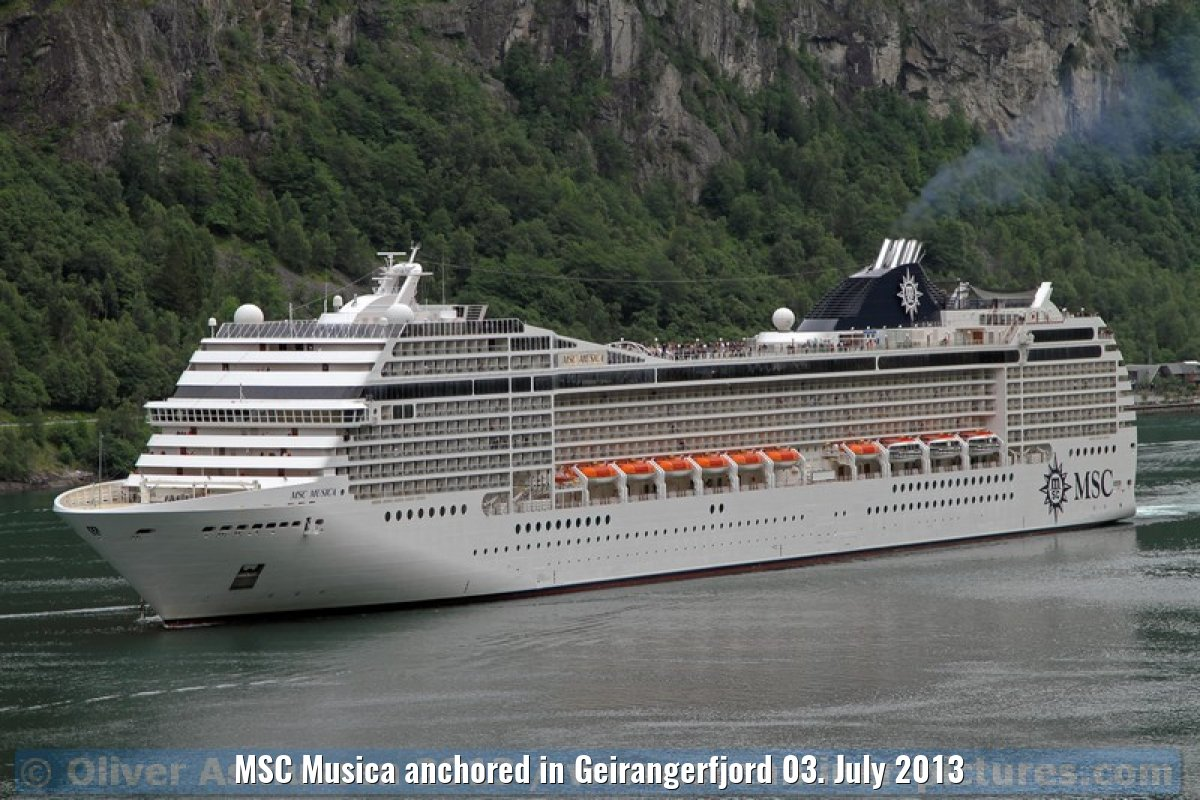MSC Musica anchored in Geirangerfjord 03. July 2013