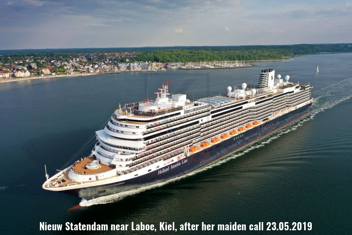 Nieuw Statendam near Laboe, Kiel, after her maiden call 23.05.2019
