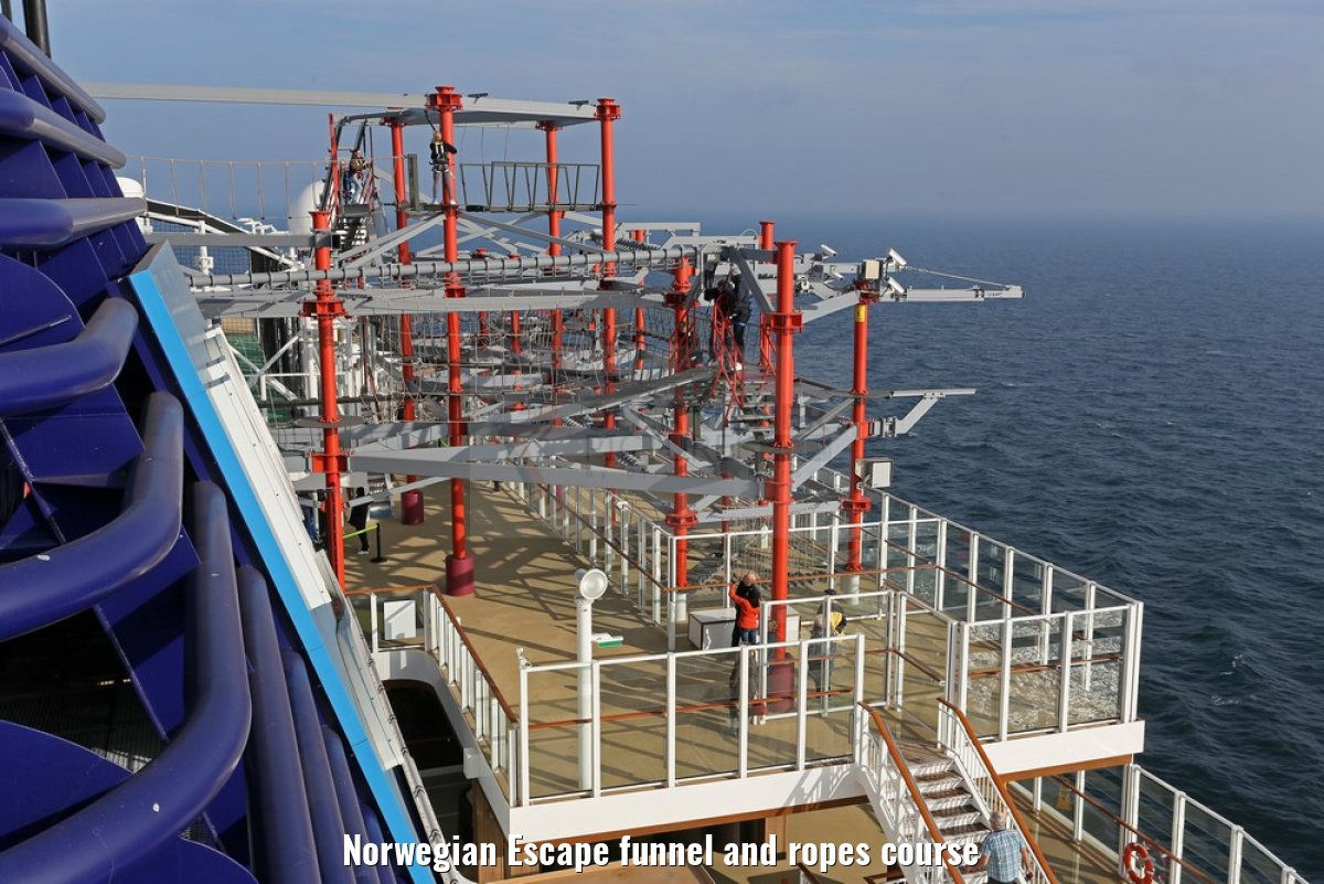 Norwegian Escape funnel and ropes course
