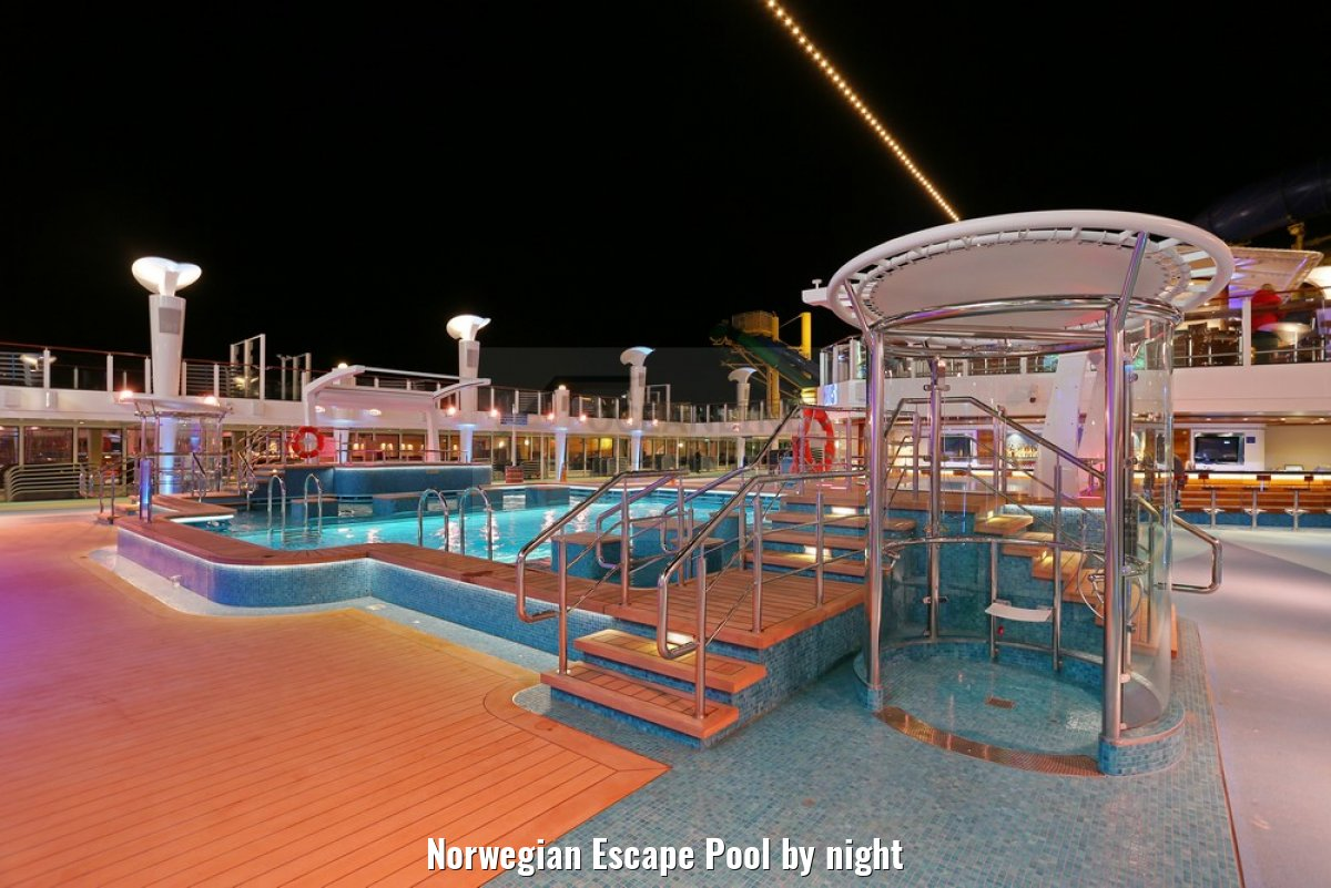Norwegian Escape Pool by night