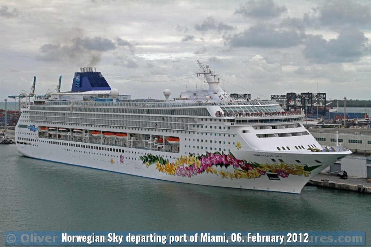 Norwegian Sky departing port of Miami, 06. February 2012