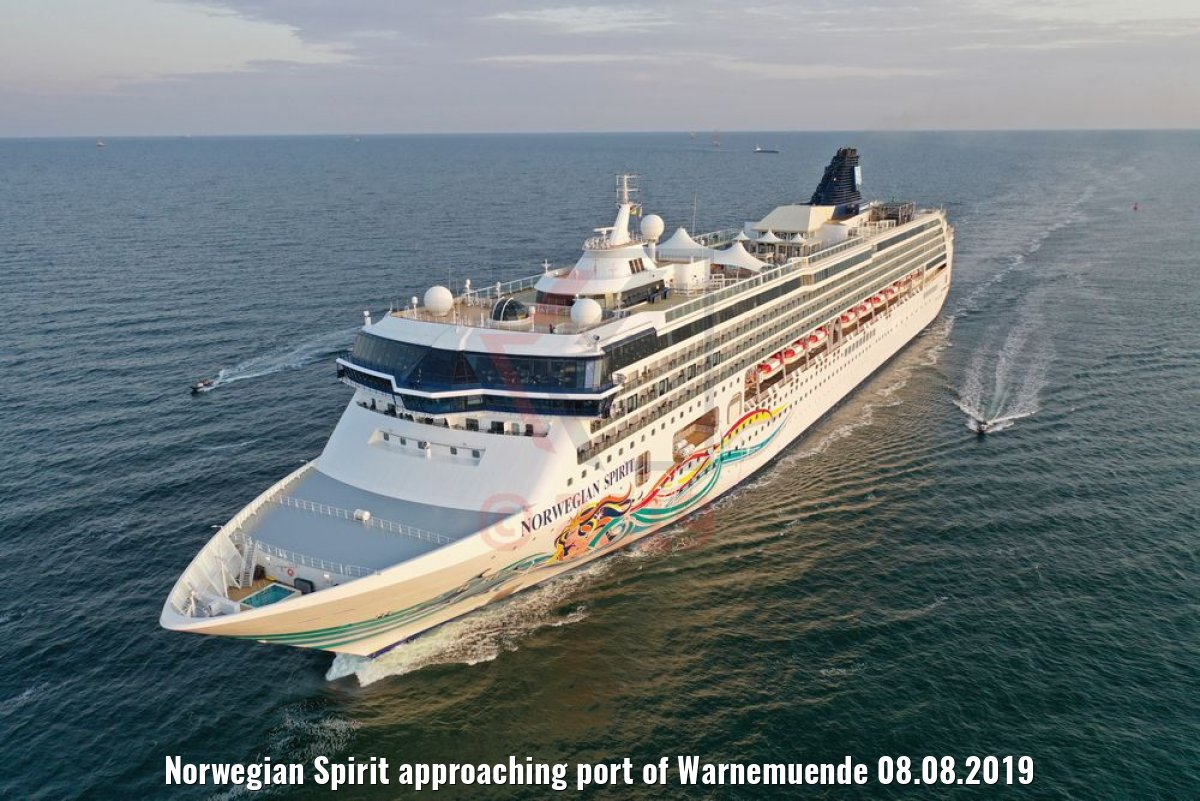 Norwegian Spirit approaching port of Warnemuende 08.08.2019