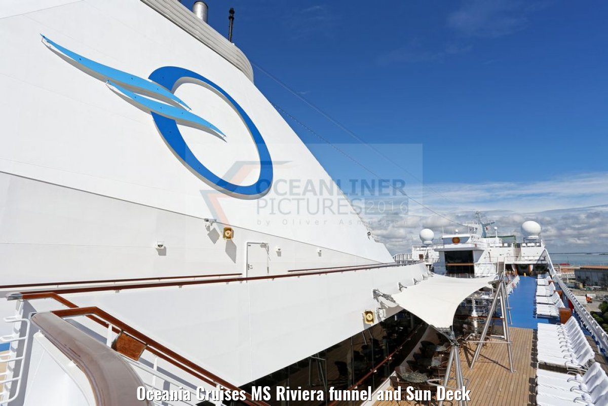 Oceania Cruises MS Riviera funnel and Sun Deck