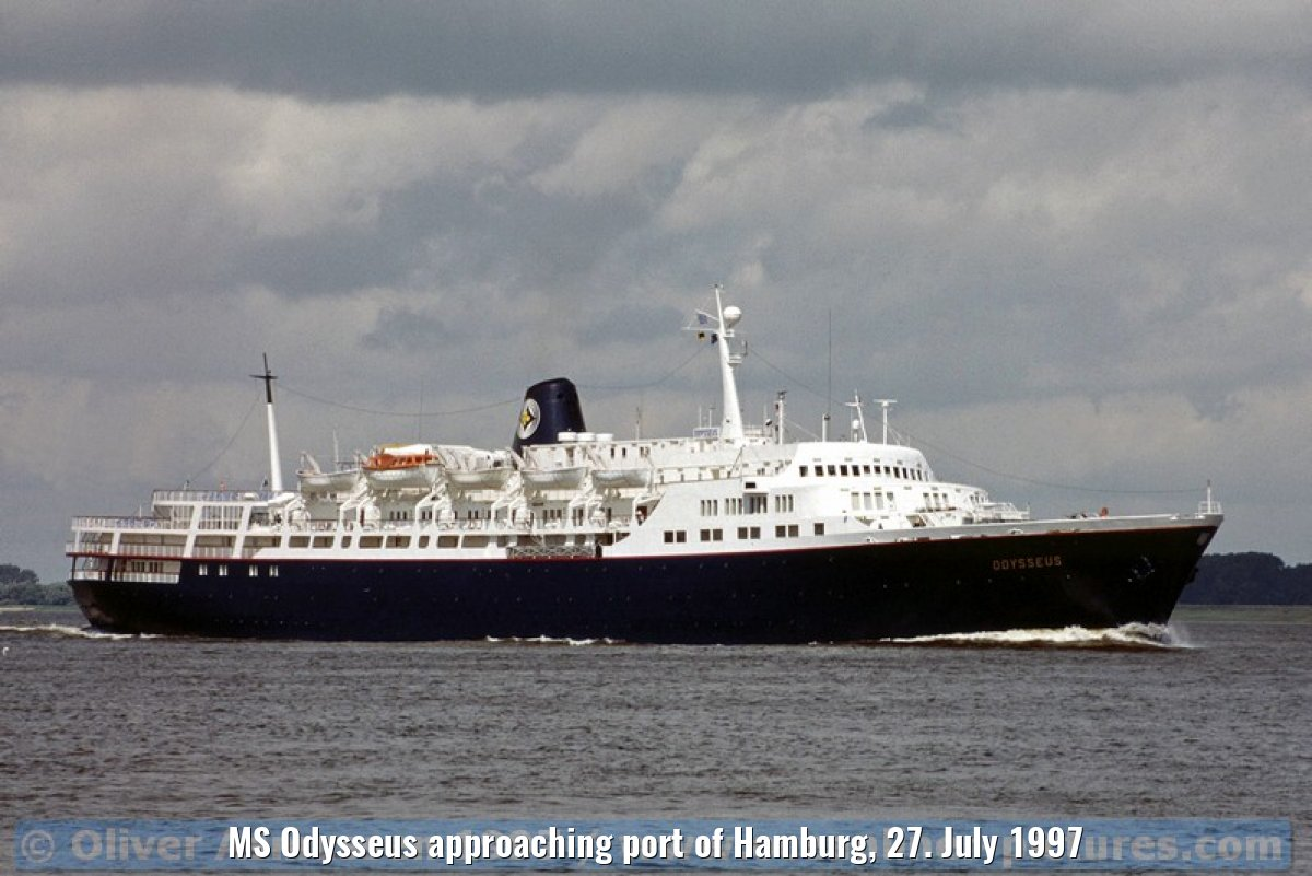 MS Odysseus approaching port of Hamburg, 27. July 1997