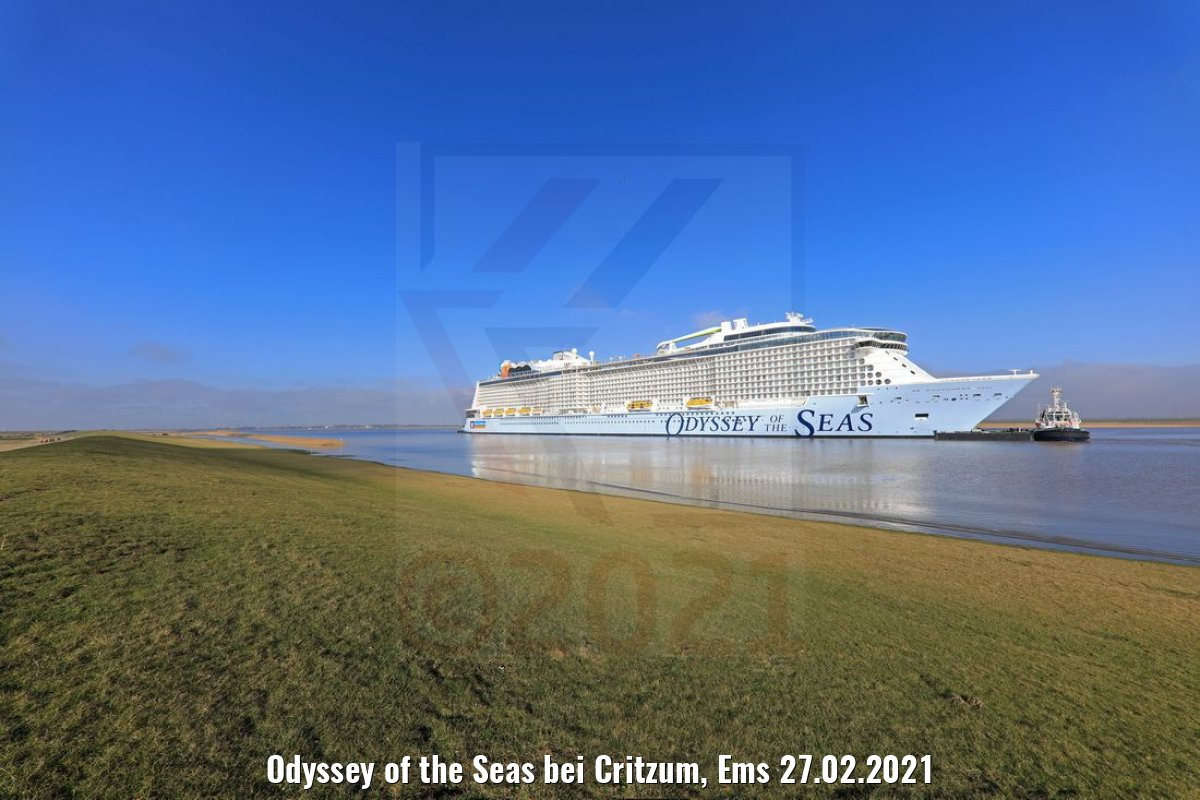 Odyssey of the Seas bei Critzum, Ems 27.02.2021