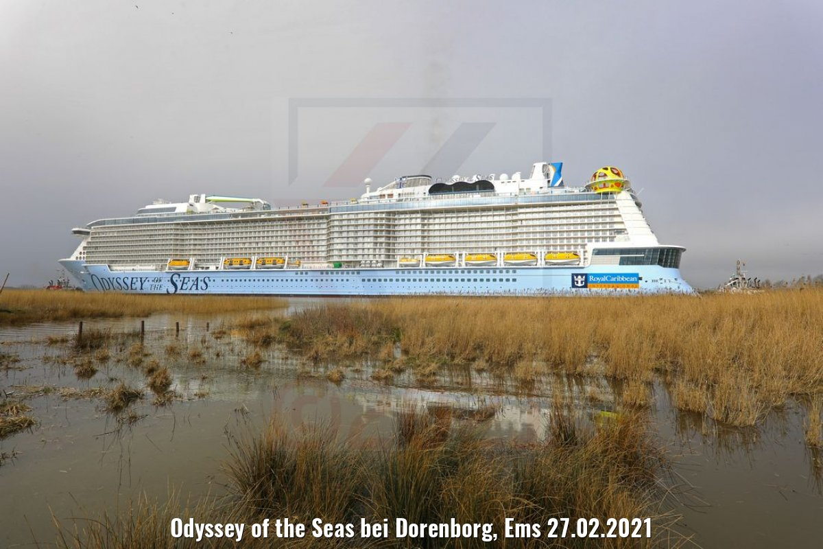 Odyssey of the Seas bei Dorenborg, Ems 27.02.2021
