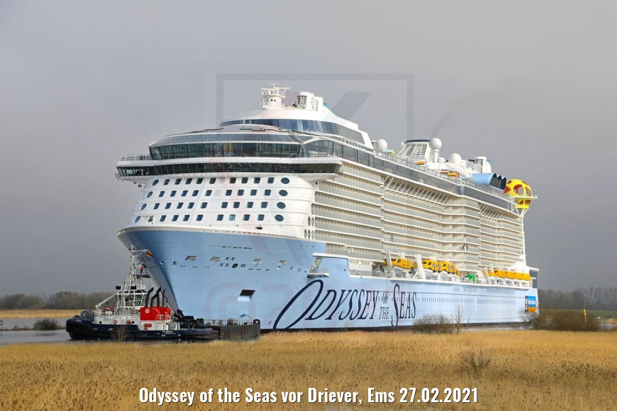 Odyssey of the Seas vor Driever, Ems 27.02.2021