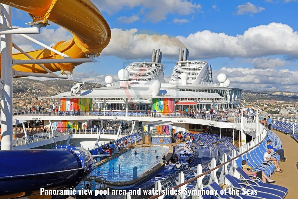 Panoramic view pool area and waterslides Symphony of the Seas
