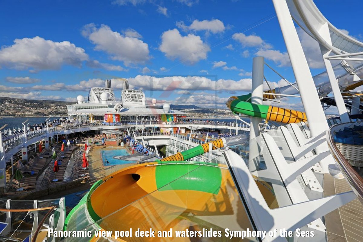 Panoramic view pool deck and waterslides Symphony of the Seas