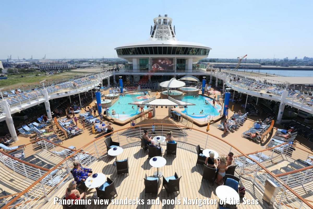 Panoramic view sundecks and pools Navigator of the Seas