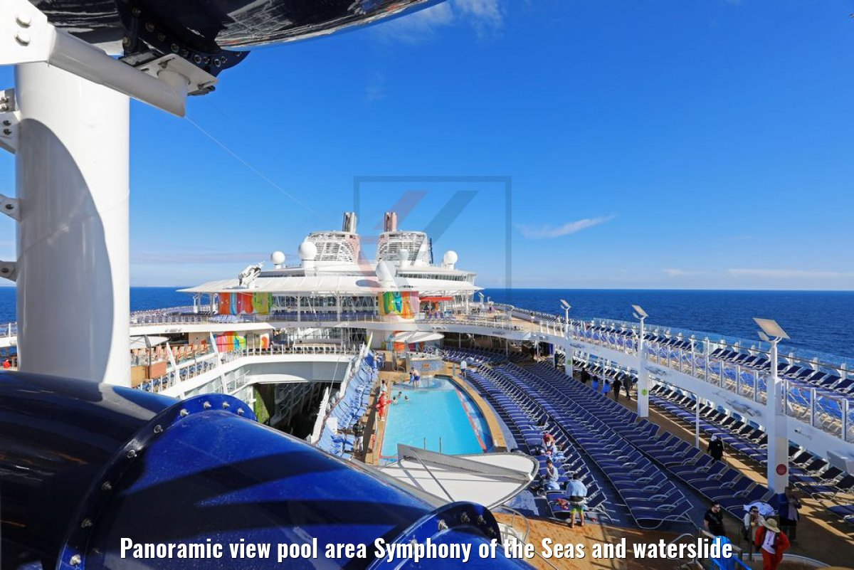 Panoramic view pool area Symphony of the Seas and waterslide