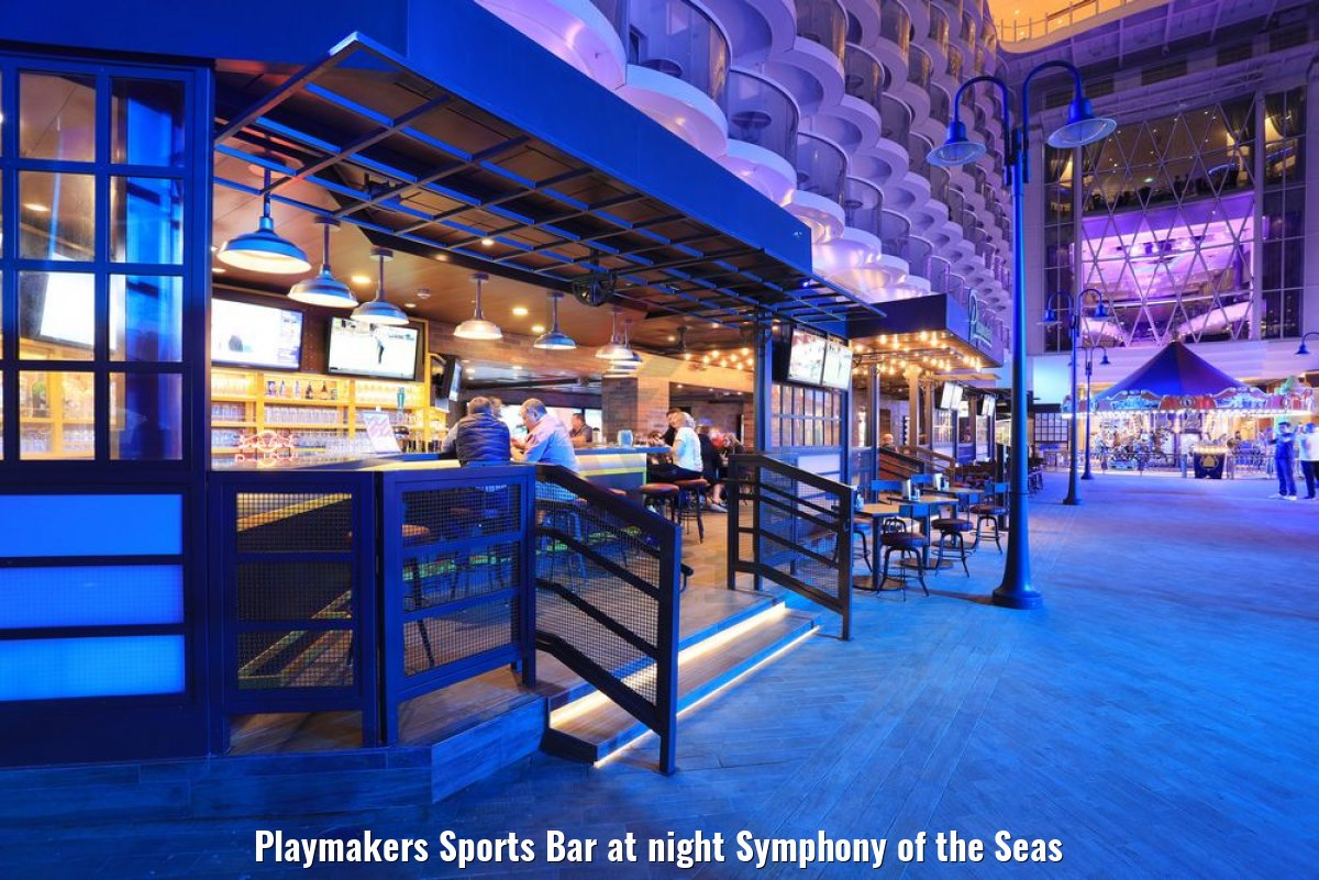 Playmakers Sports Bar at night Symphony of the Seas