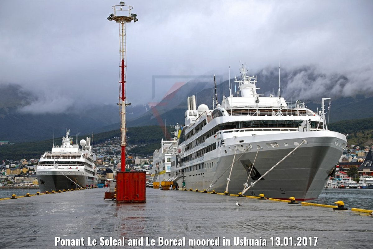Ponant Le Soleal and Le Boreal moored in Ushuaia 13.01.2017