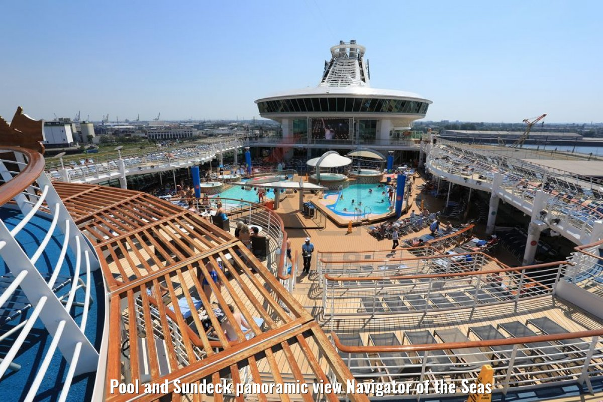 Pool and Sundeck panoramic view Navigator of the Seas