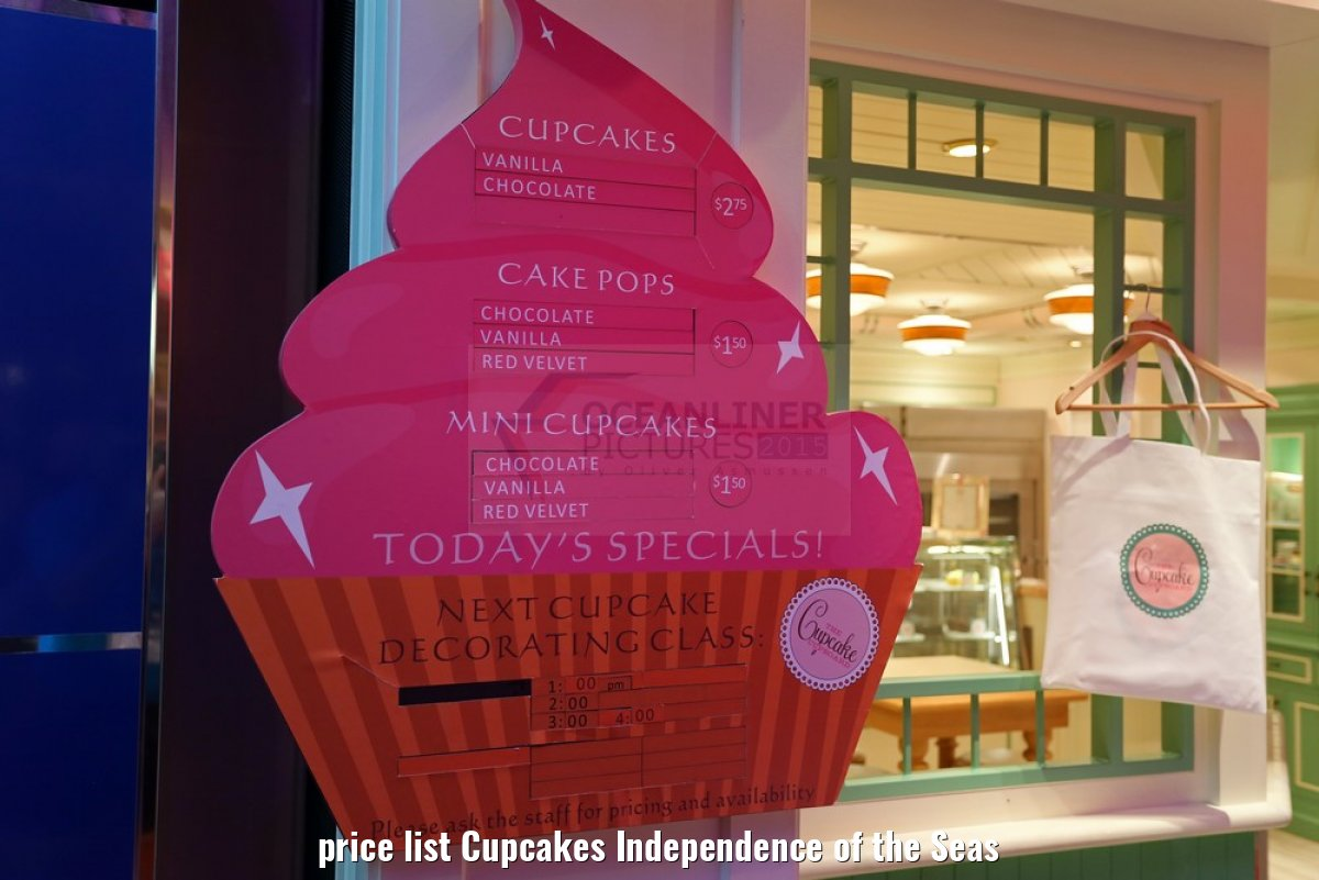price list Cupcakes Independence of the Seas