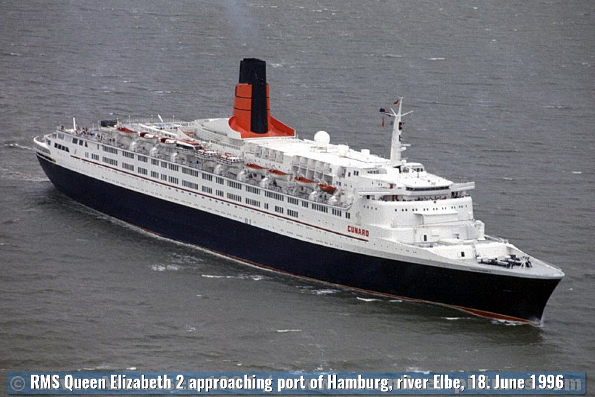RMS Queen Elizabeth 2 approaching port of Hamburg, river Elbe, 18. June 1996