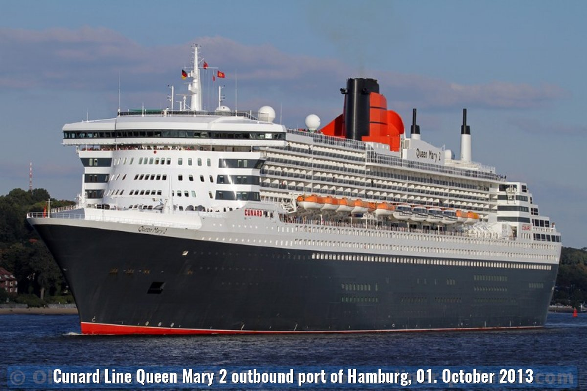 Cunard Line Queen Mary 2 outbound port of Hamburg, 01. October 2013