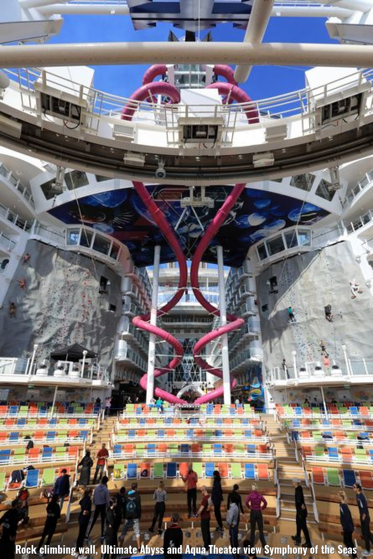 Rock climbing wall, Ultimate Abyss and Aqua Theater view Symphony of the Seas