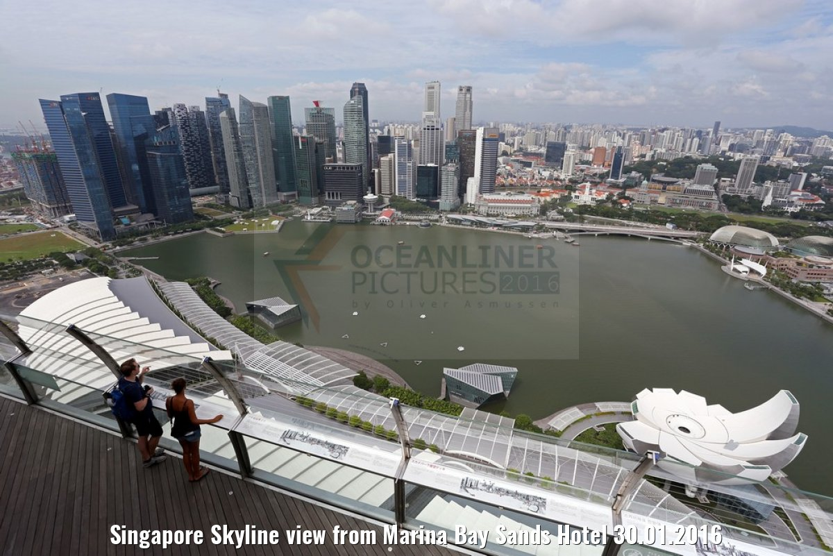 Singapore Skyline view from Marina Bay Sands Hotel 30.01.2016