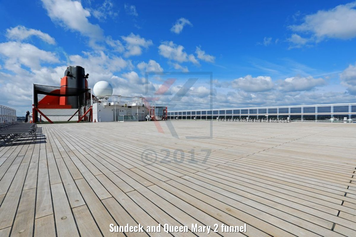 Sundeck and Queen Mary 2 funnel