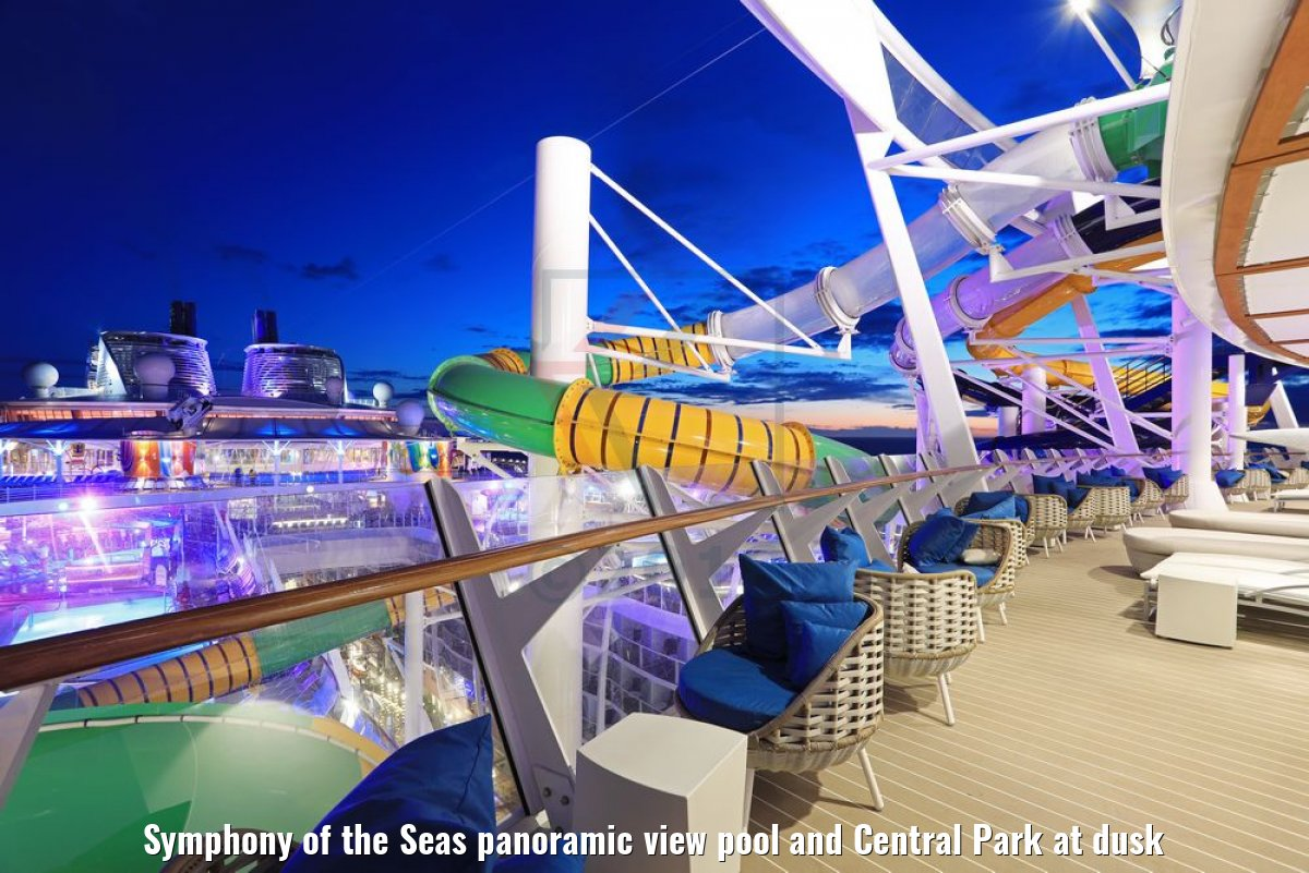 Symphony of the Seas panoramic view pool and Central Park at dusk