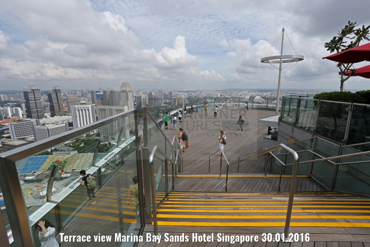 Terrace view Marina Bay Sands Hotel Singapore 30.01.2016