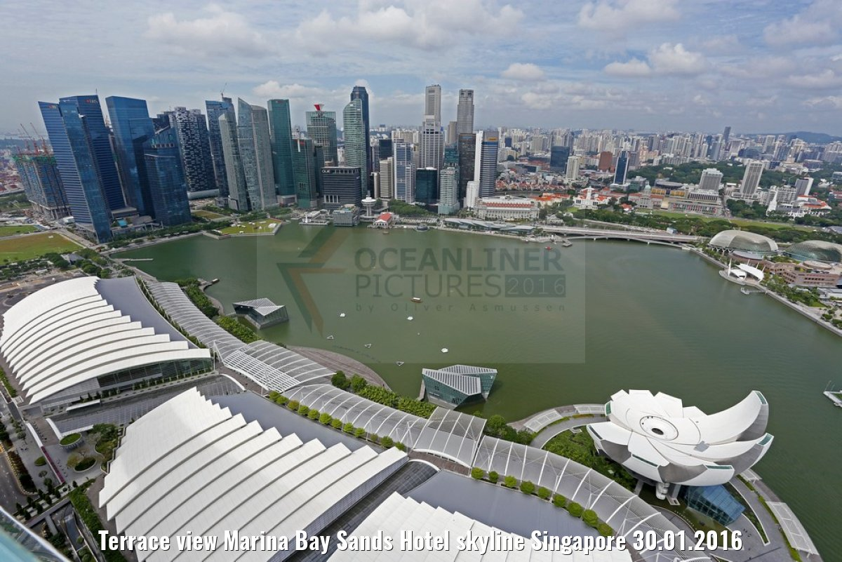 Terrace view Marina Bay Sands Hotel skyline Singapore 30.01.2016