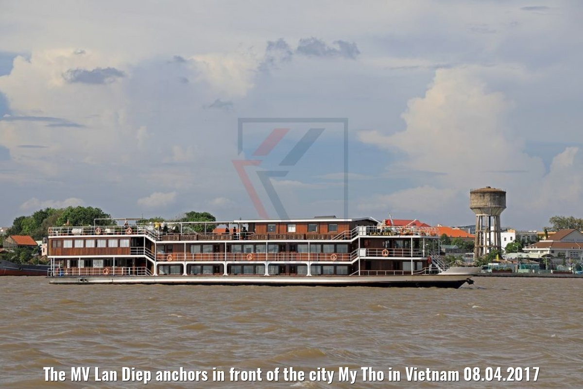The MV Lan Diep anchors in front of the city My Tho in Vietnam 08.04.2017