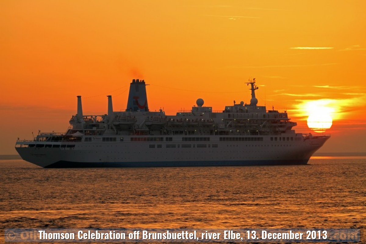 Thomson Celebration off Brunsbuettel, river Elbe, 13. December 2013