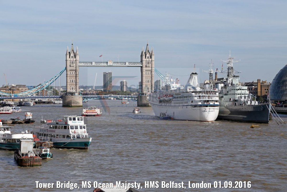 Tower Bridge, MS Ocean Majesty, HMS Belfast, London 01.09.2016