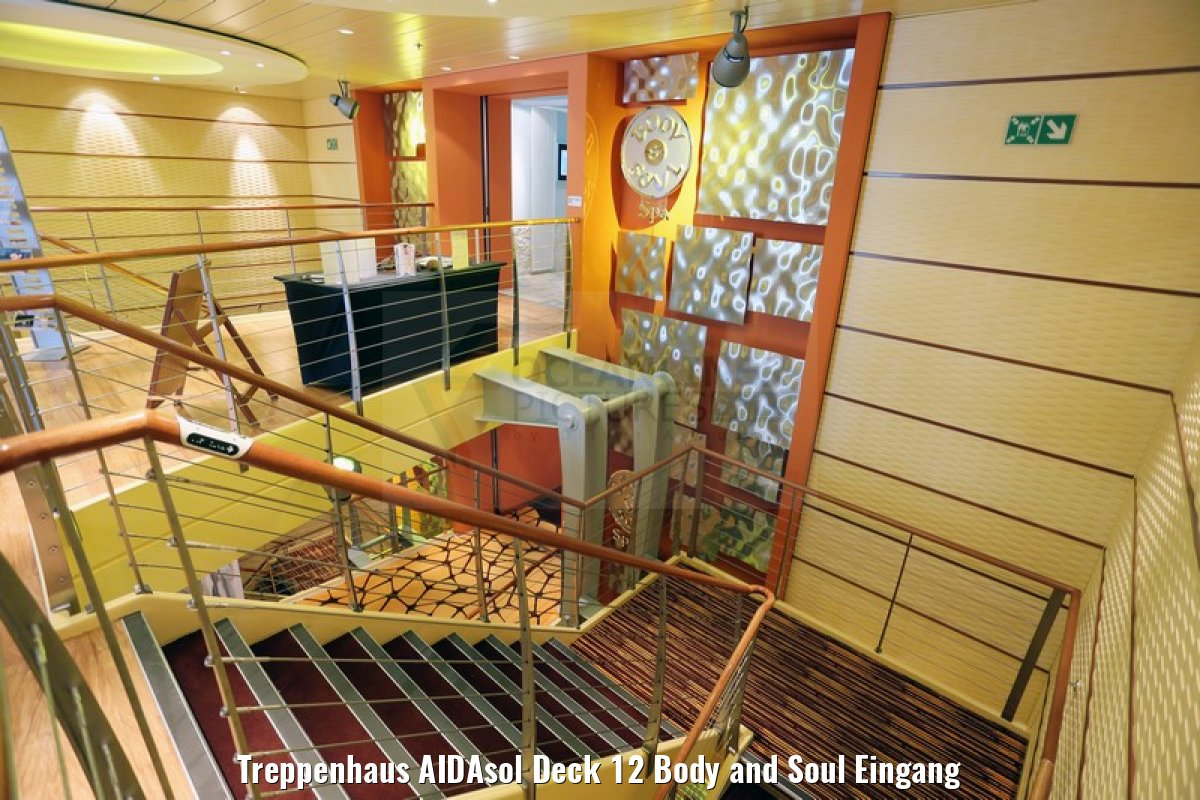 Treppenhaus AIDAsol Deck 12 Body and Soul Eingang