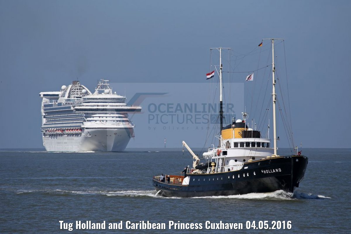 Tug Holland and Caribbean Princess Cuxhaven 04.05.2016