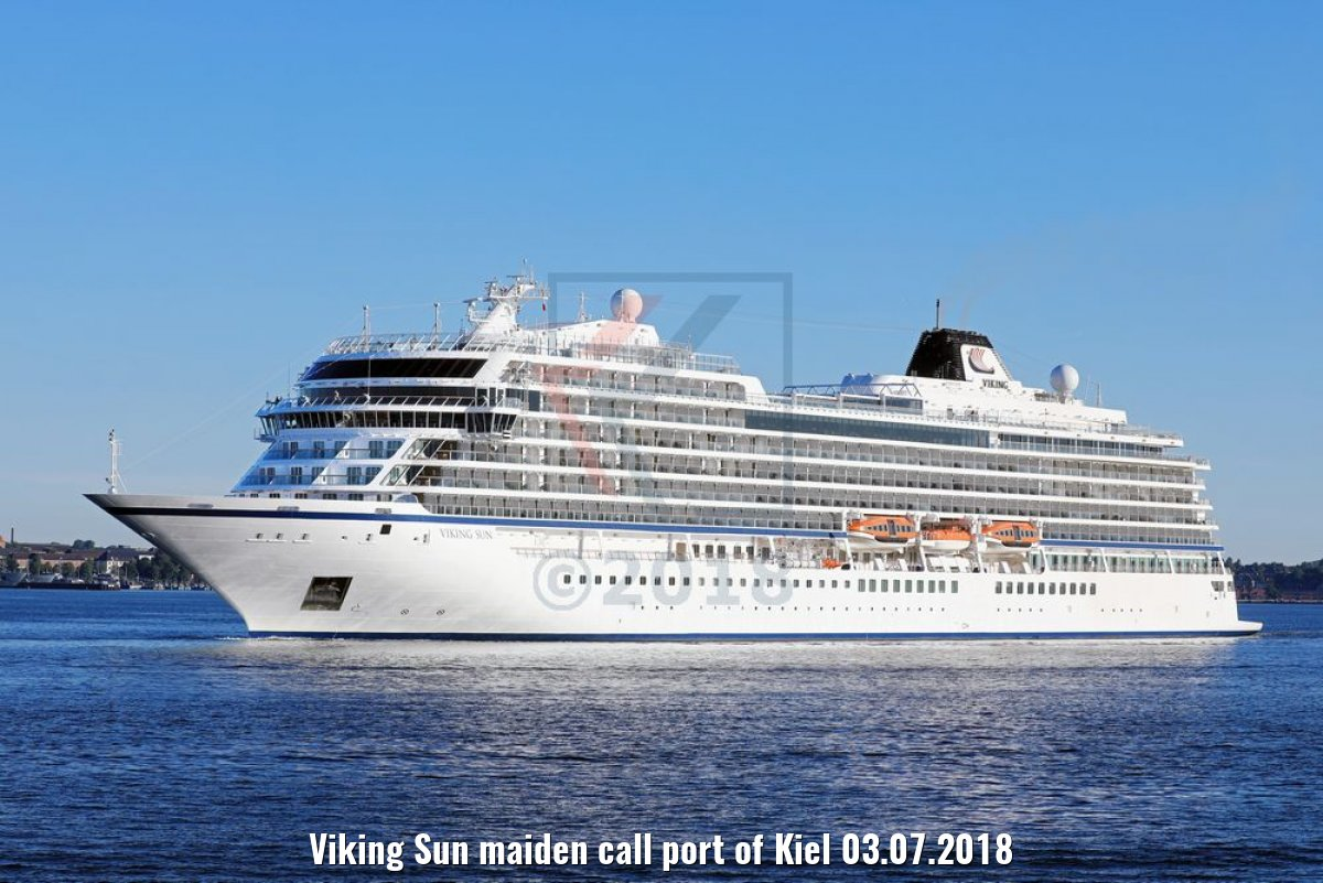 Viking Sun maiden call port of Kiel 03.07.2018