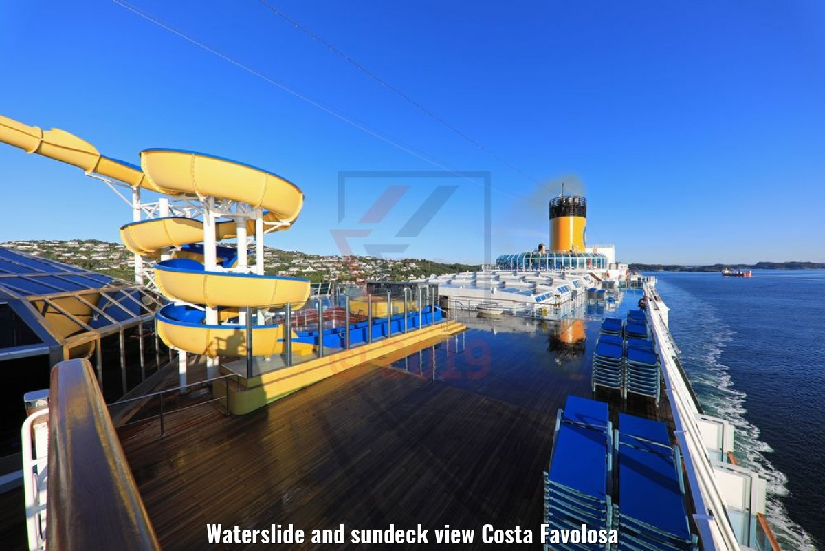 Waterslide and sundeck view Costa Favolosa