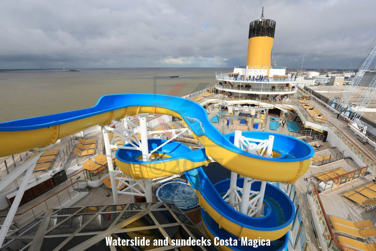 Waterslide and sundecks Costa Magica