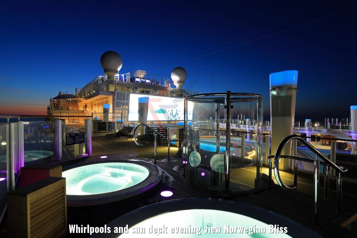 Whirlpools and sun deck evening view Norwegian Bliss
