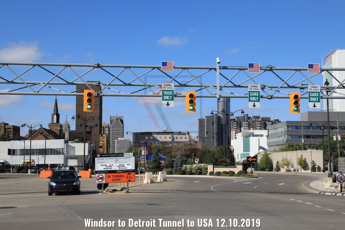 Windsor to Detroit Tunnel to USA 12.10.2019